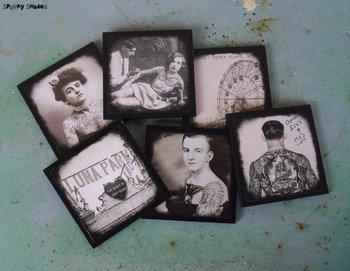 Vintage Tattoos coasters - set of 6 wooden coasters - ink, tattooed lady, rockabilly decor, tattoo ar