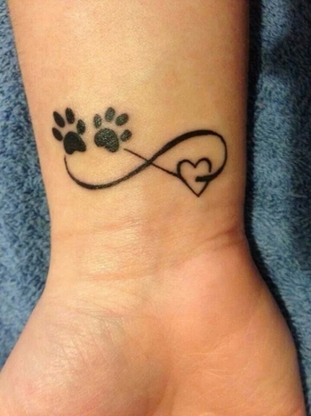 Cute pawprints on my heart infinity tattoo idea