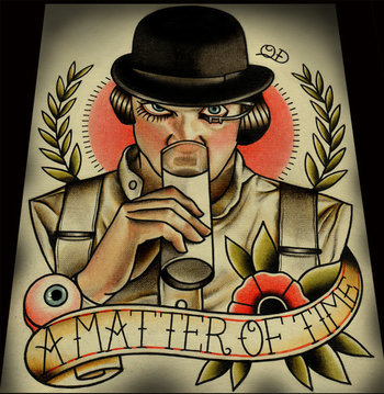 A Matter of Time: A Clockwork Orange. Art by ParlorTattooPrints, $30.00 Available for less in smaller