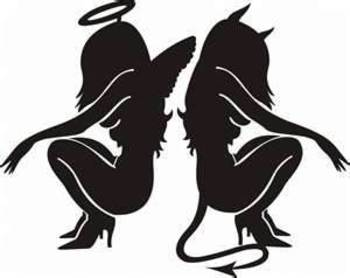 Angel & Devil black tattoos This is so me. One minute I'm an angel and the next the devil couldn't st