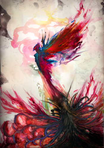 I want a phoenix tattoo down the road - this is a watercolor pic, but wouldn't it make a cool tat! Mi