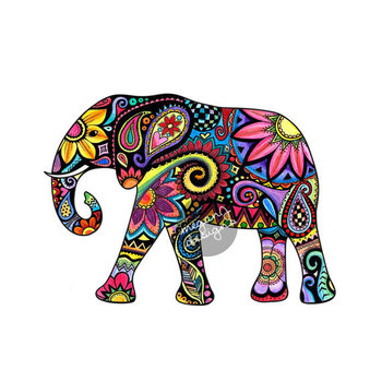 Elephant Car Decal Colorful Design Bumper Sticker Laptop Decal Pink Green Teal Yellow Jungle Flowers