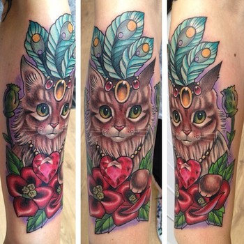 Cat tattoo, seriously in love with this