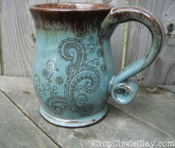 This listing is for a MADE TO ORDER Henna Tattoo style mug that I throw on my potters wheel. It is ha