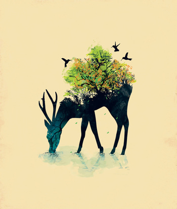 Watering (A Life Into Itself) Art Print Oh my goodness, my deer obsession needs this print.