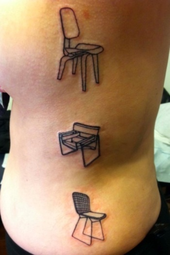 Mid-Centry Chairs - Black And Blue Tattoo, San Francisco