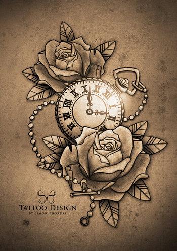 Pocket Watch Tattoo Designs
