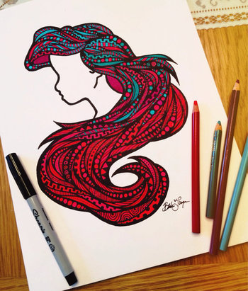 Zentangle - Sea Hair