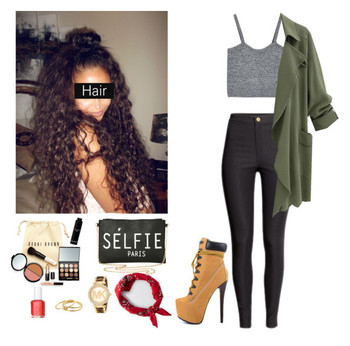 Outfit with Timberland high heel booties