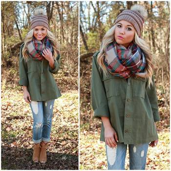 Olive green shirt + boy jeans + blanket scarf + beanie + brown booties Fall outfit