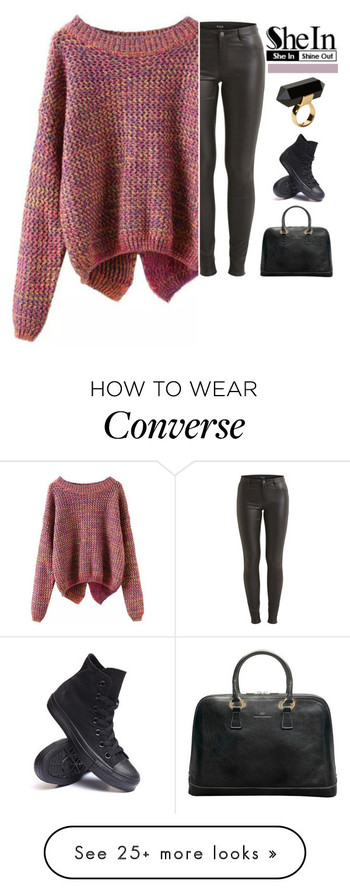 """SheIn-Long Sleeve Slit Back Purple Sweater"" by amethyst0818 on Polyvore featuring VILA, Converse and"