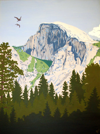 Half Dome In Yosemite Painting