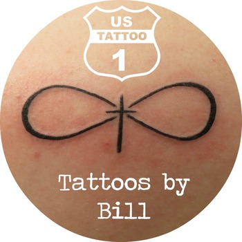 Damara came in and got her first tattoo. Bill put this infinity and cross on her shoulder blade. Now