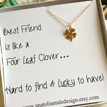 Four Leaf Clover Necklace, Best Friend Gift,