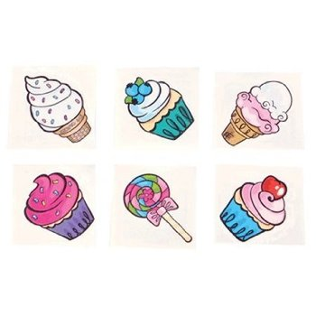 Amazon.com: Sweet Treat Ice Cream and Cupcake Tattoos - 72 pcs: Health & Personal Care
