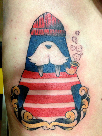 Walrus tattoo. If I ever decide to get a walrus tattoo- it would look like this.