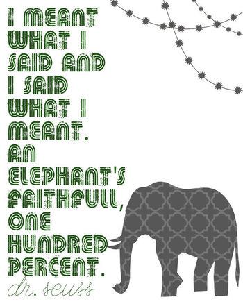 Faithful ElephantDr Seuss8x10 Print5 Color Options by