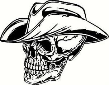 Cowboy Skull (Car Tattoo Vinyl Sticker) BLK