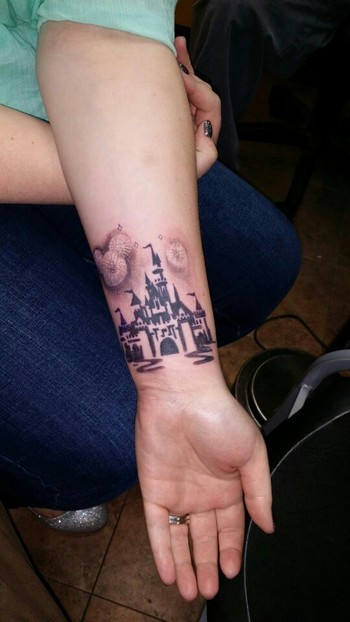 My Disney Side --- Disney tattoo with fireworks.