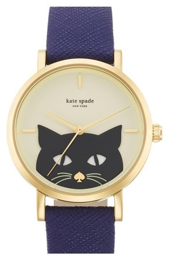 kate spade new york 'novelty metro' cat dial leather strap watch, 35mm | Nordstrom