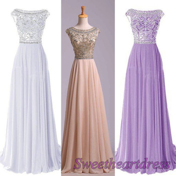 Amazing colorful round neck A-line long prom dress from Sweetheart Dress