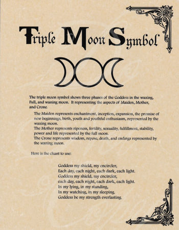 Book of Shadows page - Triple Moon Symbol & Goddess Chant