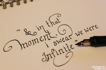 The Perks of Being a Wallflower quote. I reallyyyyyyyyyy like the idea of this as a shoulder tattoo!