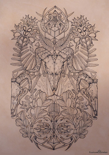 Bare Bones (Tattooed Leather Art) by Dionne Marshall, via Behance