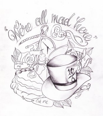Alice in wonderland tat sketch by Nevermore-Ink on deviantART