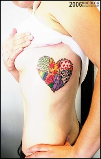 Patch heart tattoo on side body - Tattoosgallaries