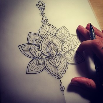 "Dominique Holmes on Instagram: ""Keeping it simple.  #tattoo #tattoodesign #ink #design #drawing #mehndi #mandala #lotus #lotusmandala #blackndark #iblackwork #onlyblackart…"""