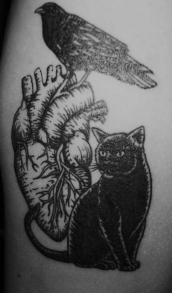 "Edgar Allan Poe-themed tat, referencing ""The Black Cat,"" ""The Raven,"" and ""The Telltale Heart."" Found"
