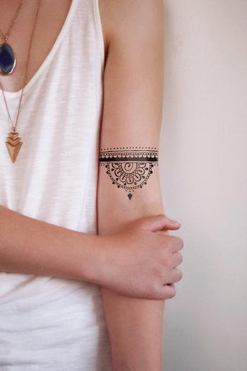 Half mandala temporary tattoo henna style por Tattoorary en Etsy
