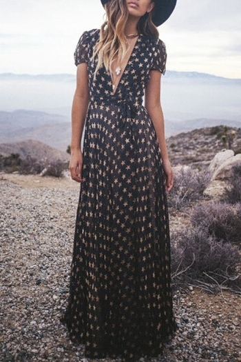 Full Star Print Short Sleeve Maxi Dress: Maxi Dresses