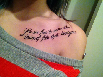 "Legend of Dragoon tattoo ""You are free to sever the chains of fate that bind you"" so glad i did it <3"