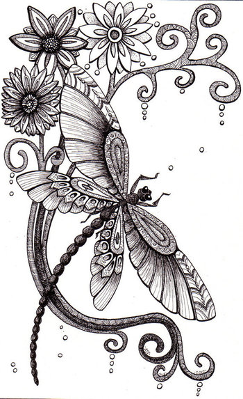 @Amber Ridinger Fly Away. Beautiful and original whimsical abstract psychedelic stylised Ink drawing