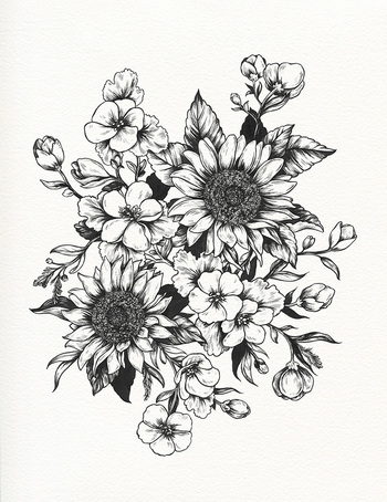 In progress - sunflowers and geraniums for Sofia (technicolorlover) This image is a design for a tatt