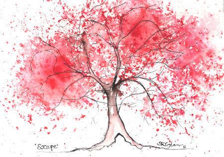 Watercolor tree outline tattoo original