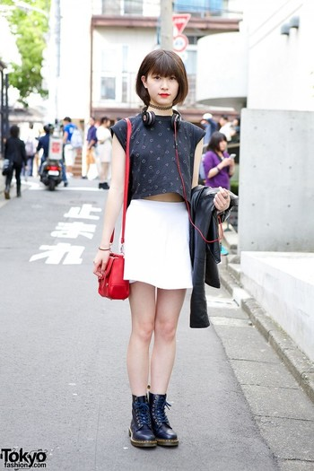 Spotted in Harajuku. Tokyo in early June 2015: Crop Top, American Apparel Skirt & Dr. Martens @street