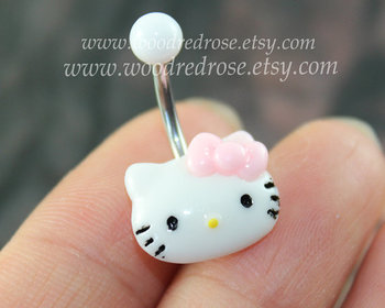 ★Size: Surgical Steel Size: 1.6mm*10*5/8mm (14G),5mm top ball /8mm bottom ball Hello Kitty for 14MM.