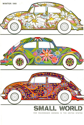Cover of the Small World magazine, for VW owners in the States,1969. Unknown artist. Volkswagen of Am
