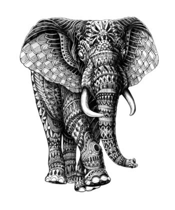 Ornate Elephant v.2 Art Print by BioWorkZ | Society6