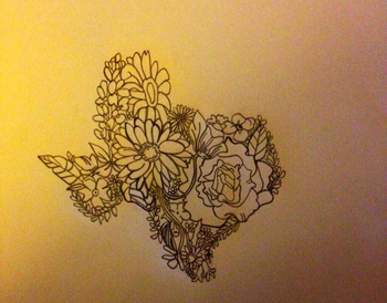 I would never get but floral Texas tattoo idea