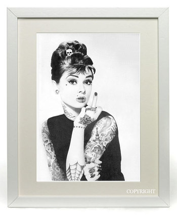 Audrey Hepburn Tattooed Original Printed Art by DesignCloudStudio, $30.00