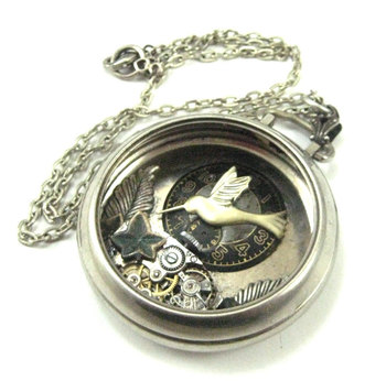 Hummingbird Pocket , Silver Steampunk pocket watch, Steampunk Pocket Watch Necklace, Victorian, Hummi