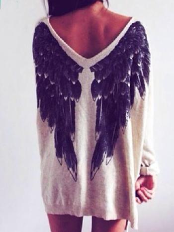 White Angel Wings Loose Jumper - Choies.com