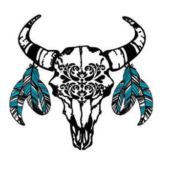 Western, Bohemian Bull Skull Temporay Tattoo