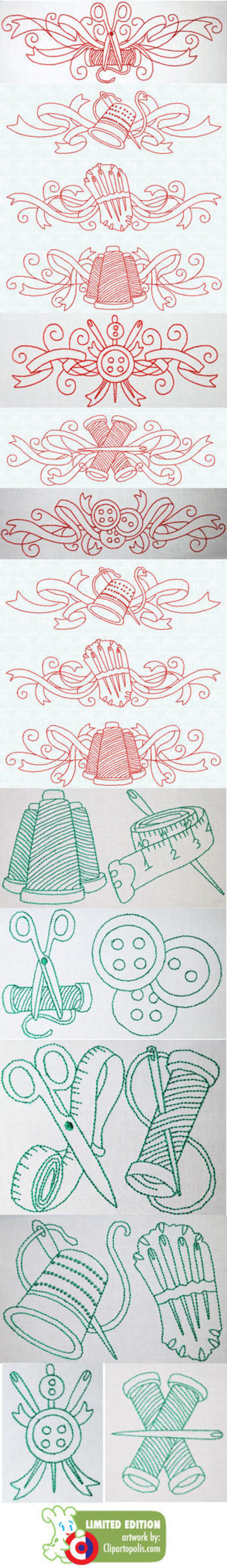 Redwork Embroidery Borders-Embroidery on white,applique onto contrasting fabric patterns and frame