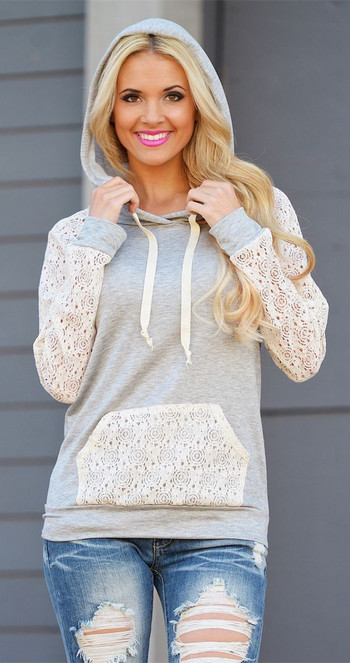 Lace Spliced Pullover Hoodie
