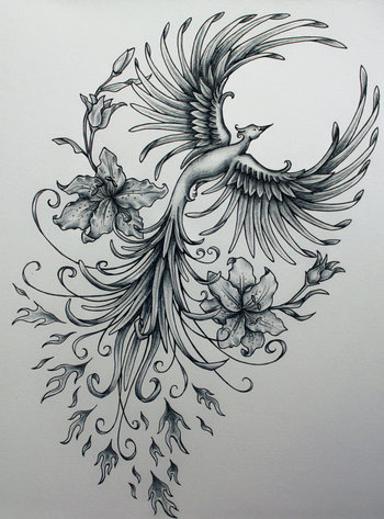 Phoenix Rising Original Art Sample